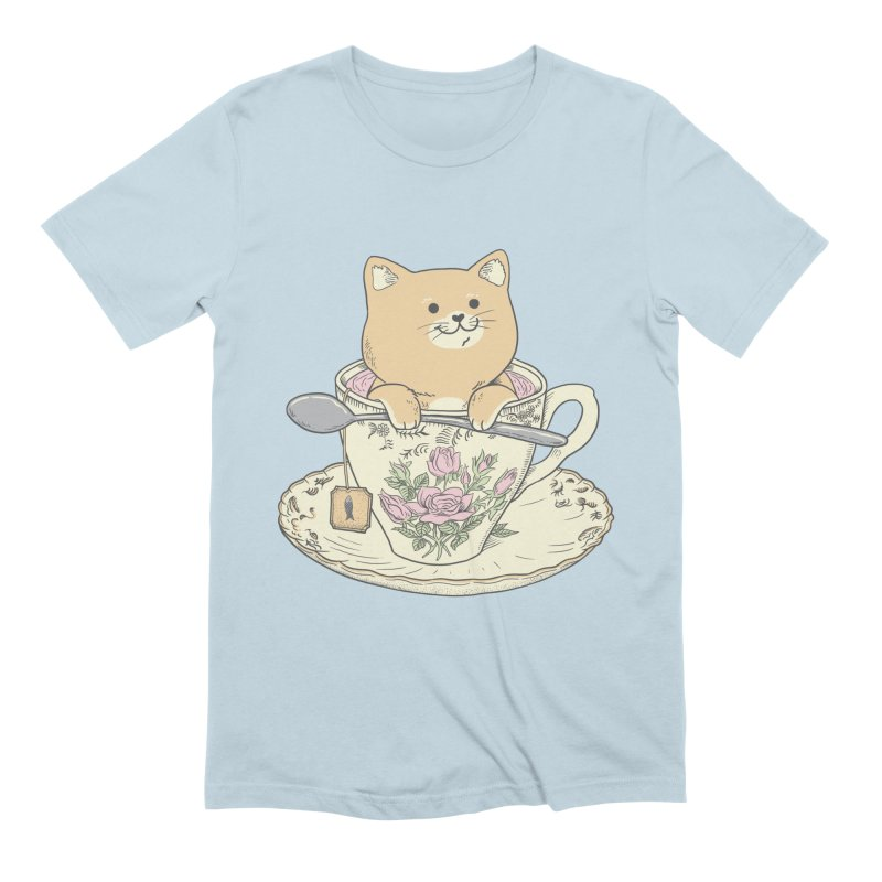Tea Cat Time in Men's Extra Soft T-Shirt Baby Blue by Pepe Rodríguez