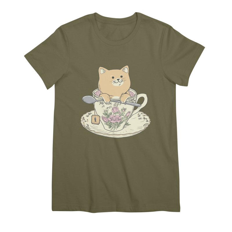 Tea Cat Time Women's Premium T-Shirt by Pepe Rodríguez