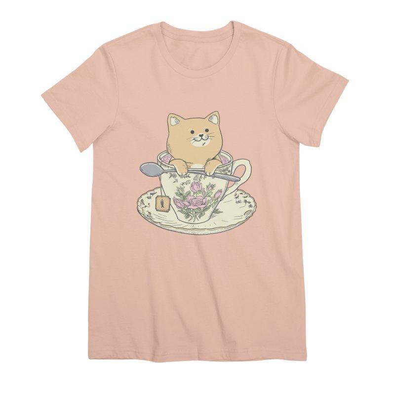 Tea Cat Time Women's Premium T-Shirt by Pepe Rodríguez