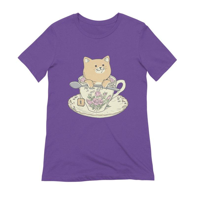 Tea Cat Time Women's Extra Soft T-Shirt by Pepe Rodríguez