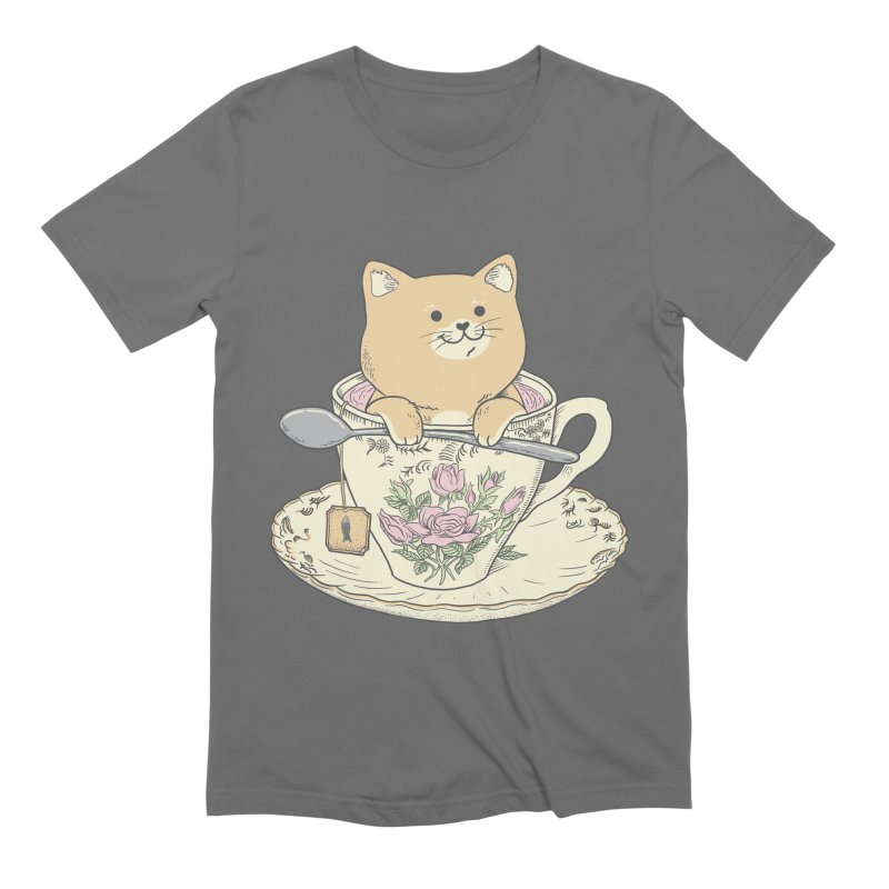 Tea Cat Time Men's Extra Soft T-Shirt by Pepe Rodríguez