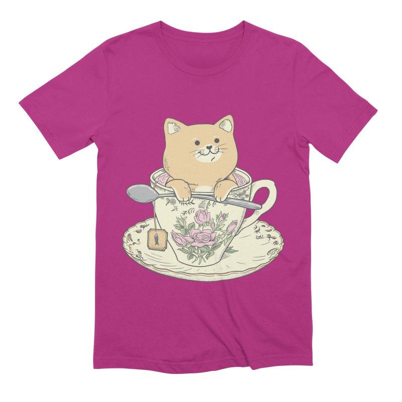 Tea Cat Time Men's Extra Soft T-Shirt by Pepe Rodríguez