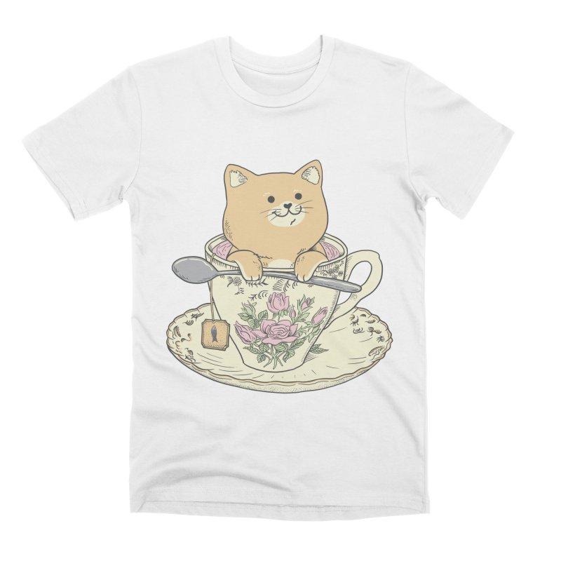 Tea Cat Time Men's Premium T-Shirt by Pepe Rodríguez
