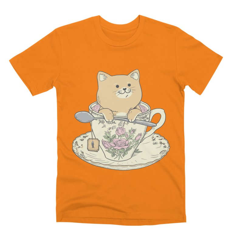 Tea Cat Time Men's Premium T-Shirt by Pepe Rodríguez