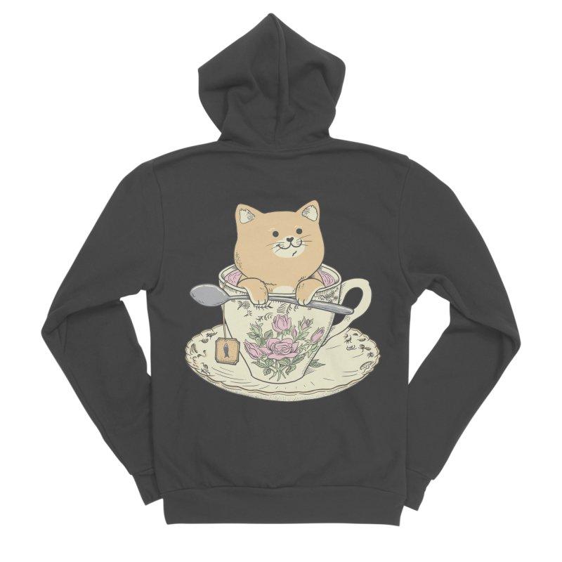 Tea Cat Time Women's Sponge Fleece Zip-Up Hoody by Pepe Rodríguez