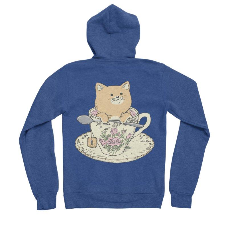 Tea Cat Time Men's Sponge Fleece Zip-Up Hoody by Pepe Rodríguez