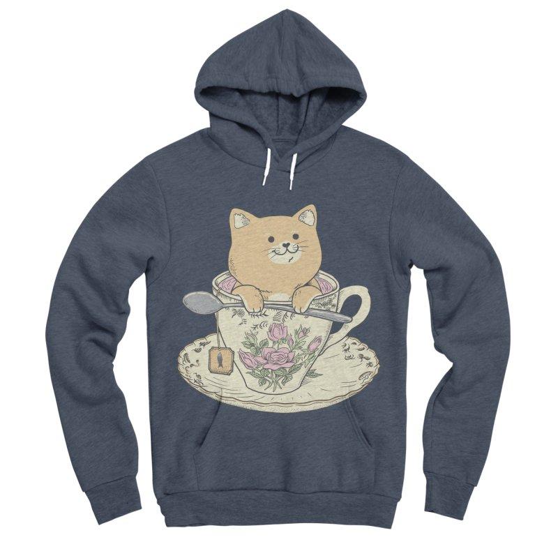Tea Cat Time Men's Sponge Fleece Pullover Hoody by Pepe Rodríguez