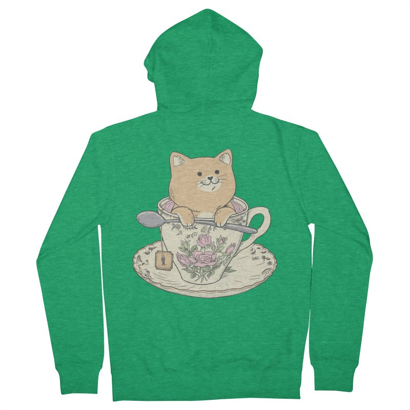 Tea Cat Time Men's Zip-Up Hoody by Pepe Rodríguez