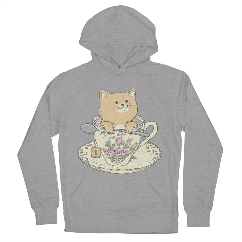 Tea Cat Time Women's French Terry Pullover Hoody by Pepe Rodríguez