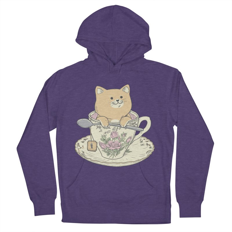 Tea Cat Time Men's French Terry Pullover Hoody by Pepe Rodríguez