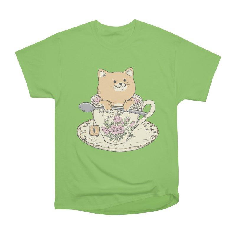 Tea Cat Time Men's Heavyweight T-Shirt by Pepe Rodríguez
