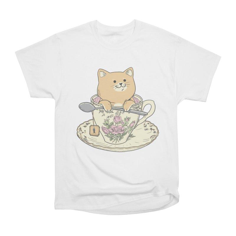 Tea Cat Time Women's Heavyweight Unisex T-Shirt by Pepe Rodríguez