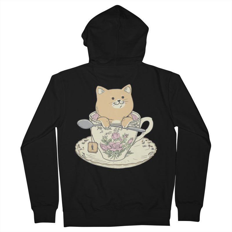Tea Cat Time Women's French Terry Zip-Up Hoody by Pepe Rodríguez