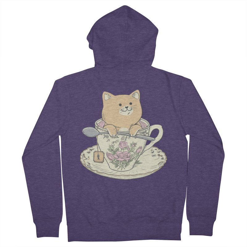 Tea Cat Time Men's French Terry Zip-Up Hoody by Pepe Rodríguez