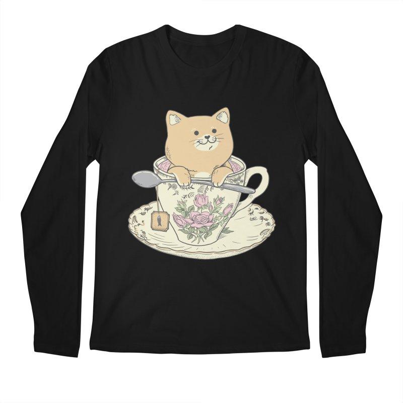 Tea Cat Time Men's Regular Longsleeve T-Shirt by Pepe Rodríguez