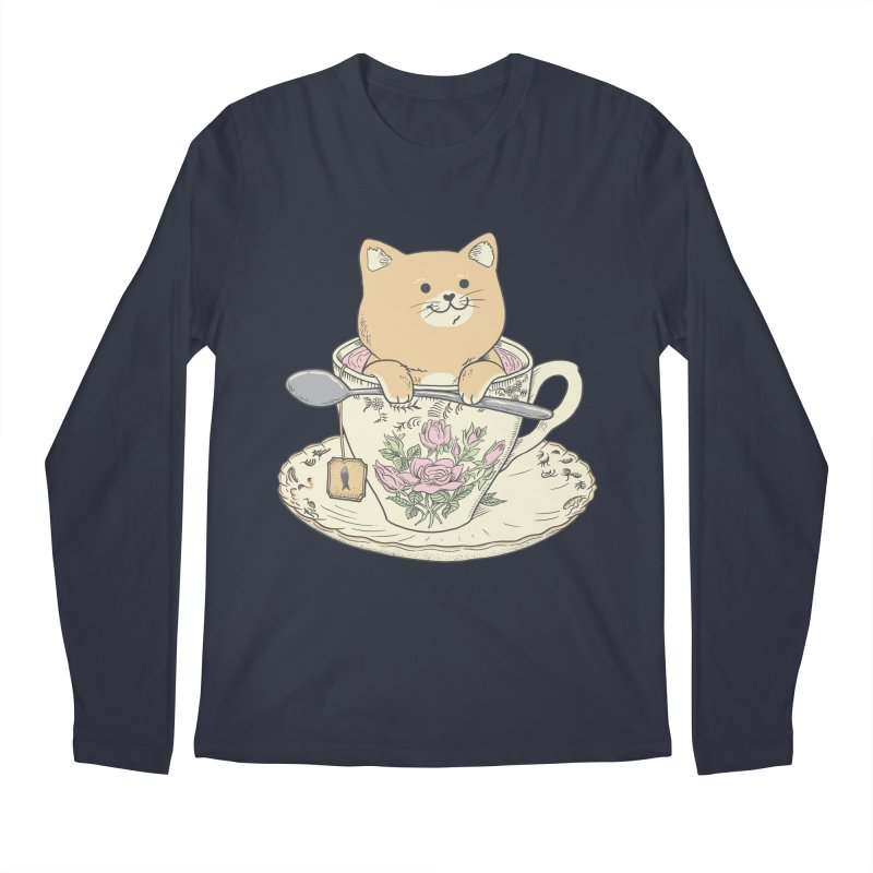 Tea Cat Time Men's Regular Longsleeve T-Shirt by Pepe Rodríguez