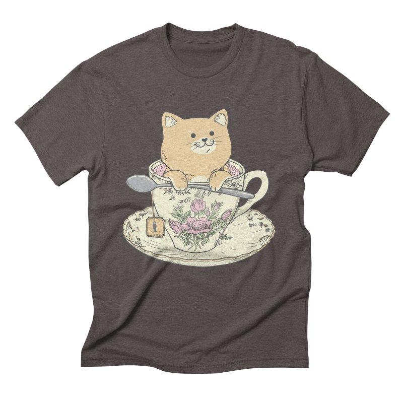 Tea Cat Time Men's Triblend T-Shirt by Pepe Rodríguez