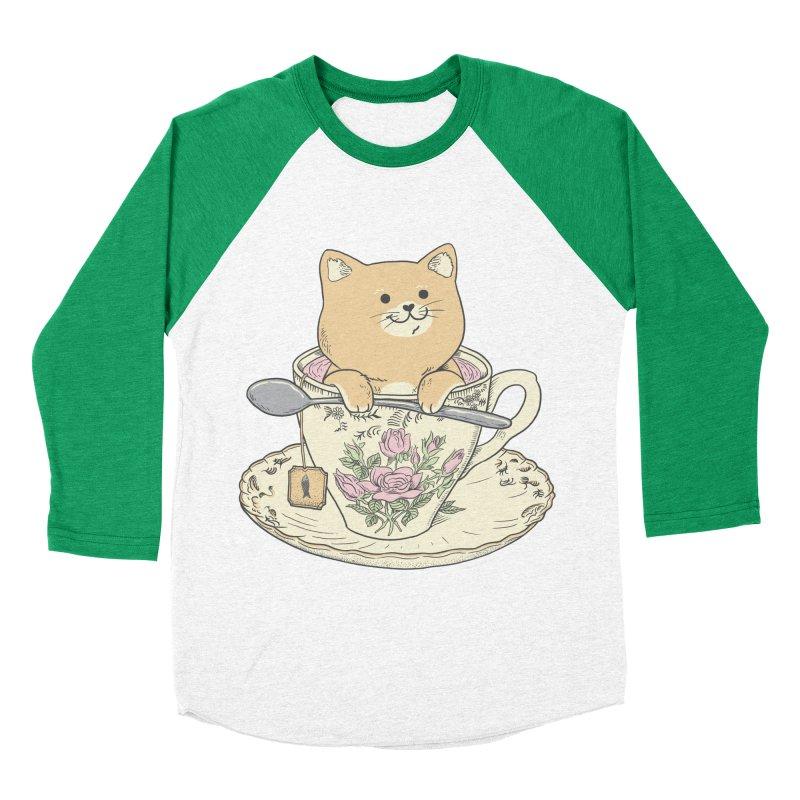 Tea Cat Time Women's Baseball Triblend Longsleeve T-Shirt by Pepe Rodríguez