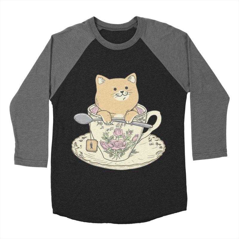 Tea Cat Time Men's Baseball Triblend Longsleeve T-Shirt by Pepe Rodríguez