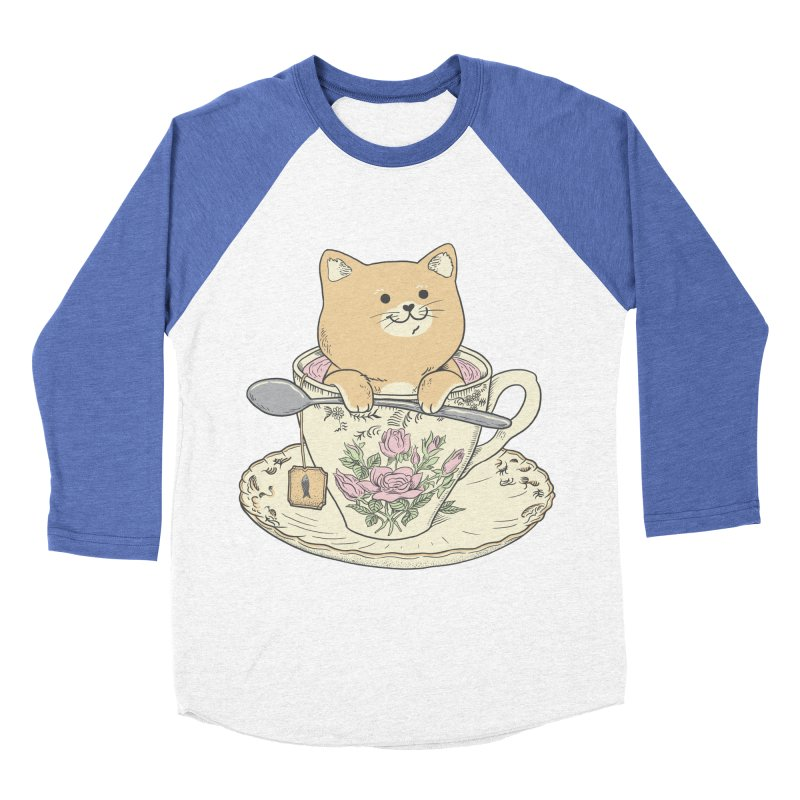 Tea Cat Time Men's Baseball Triblend Longsleeve T-Shirt by Pepe Rodríguez