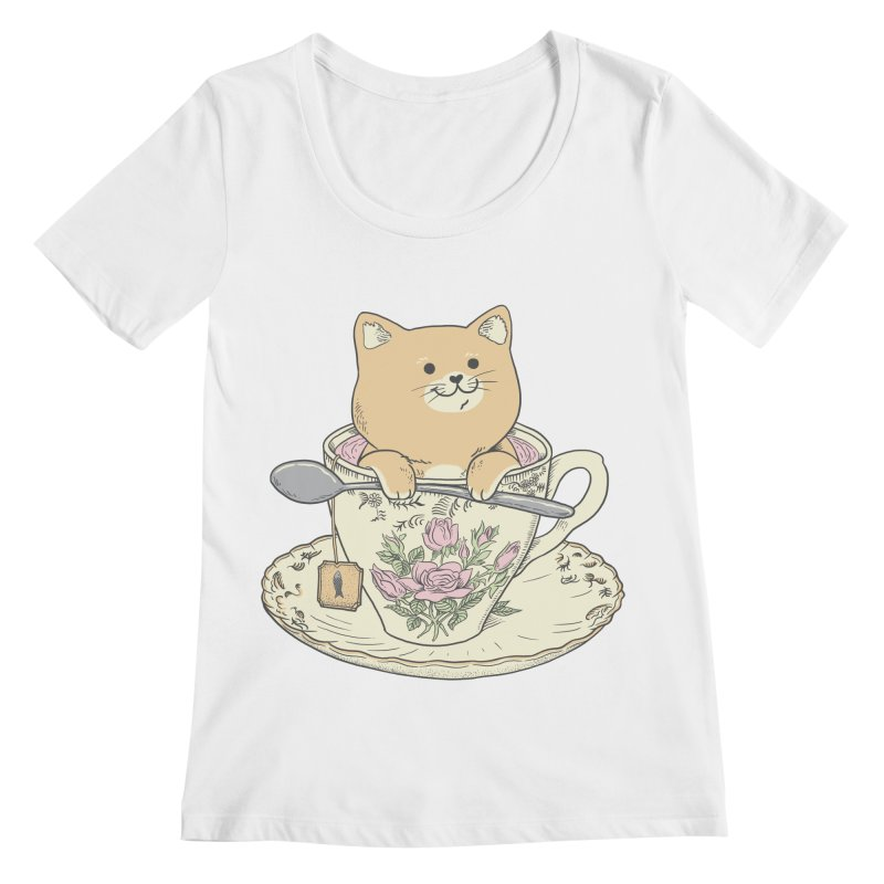 Tea Cat Time Women's Regular Scoop Neck by Pepe Rodríguez