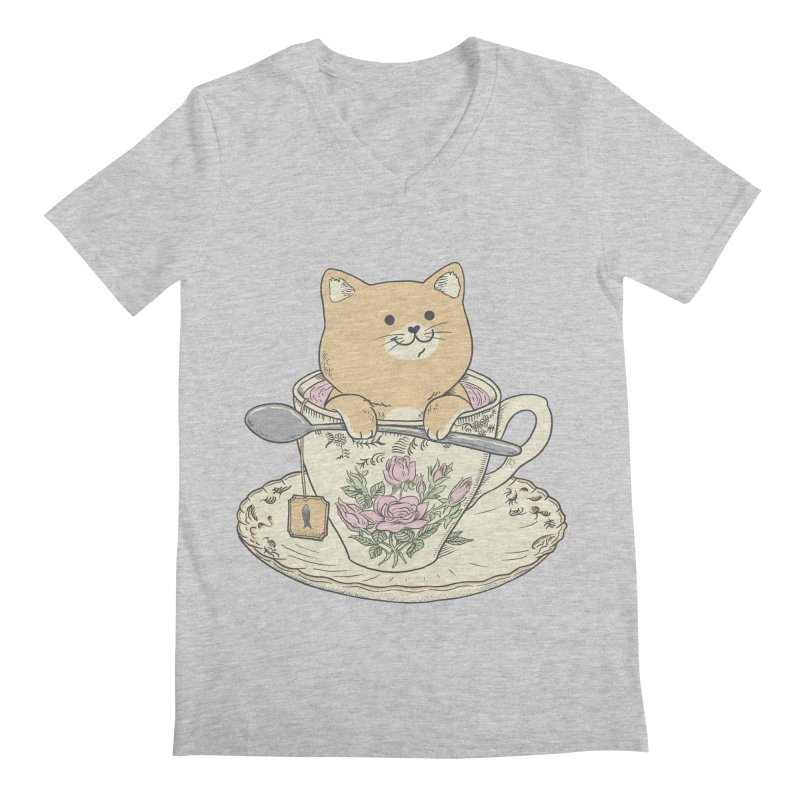 Tea Cat Time Men's Regular V-Neck by Pepe Rodríguez