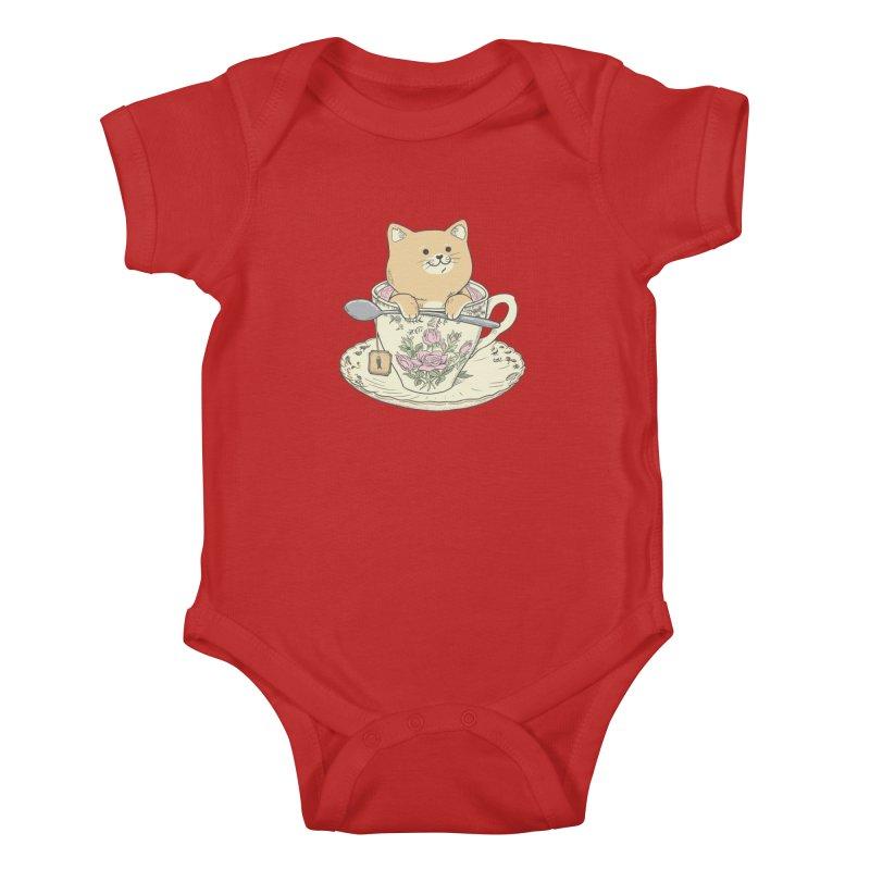 Tea Cat Time Kids Baby Bodysuit by Pepe Rodríguez