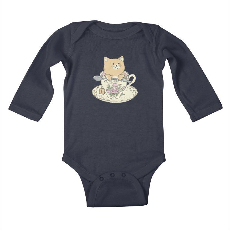 Tea Cat Time Kids Baby Longsleeve Bodysuit by Pepe Rodríguez