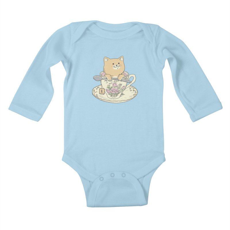 Tea Cat Time Kids Baby Longsleeve Bodysuit by Pepe Rodríguez