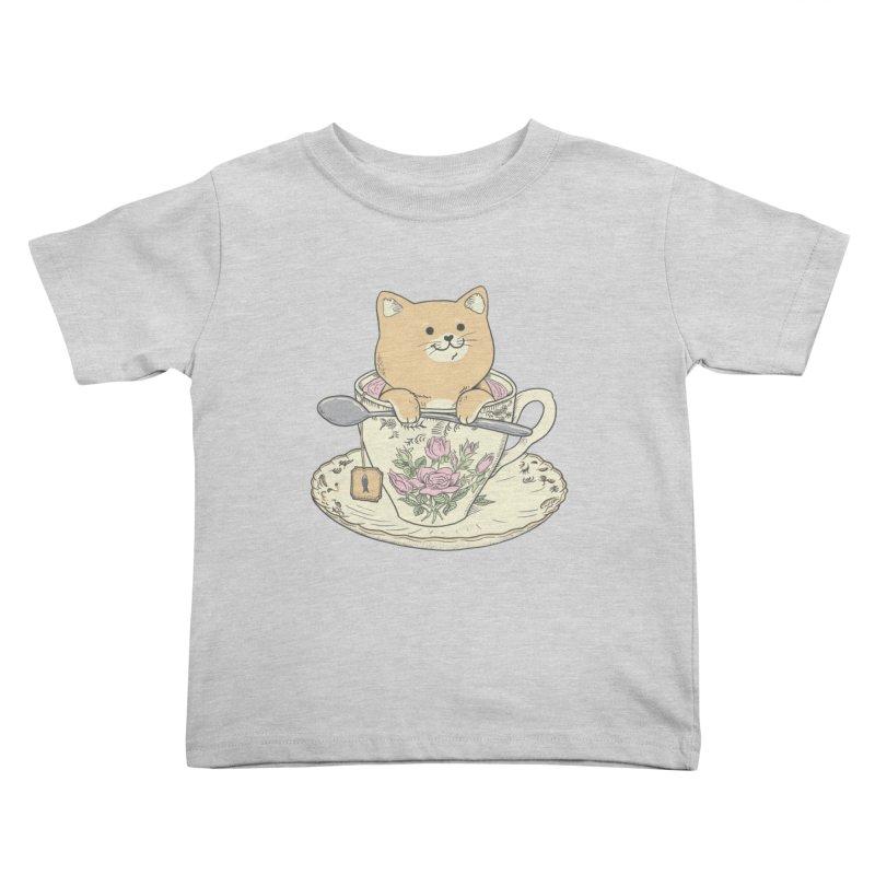 Tea Cat Time Kids Toddler T-Shirt by Pepe Rodríguez