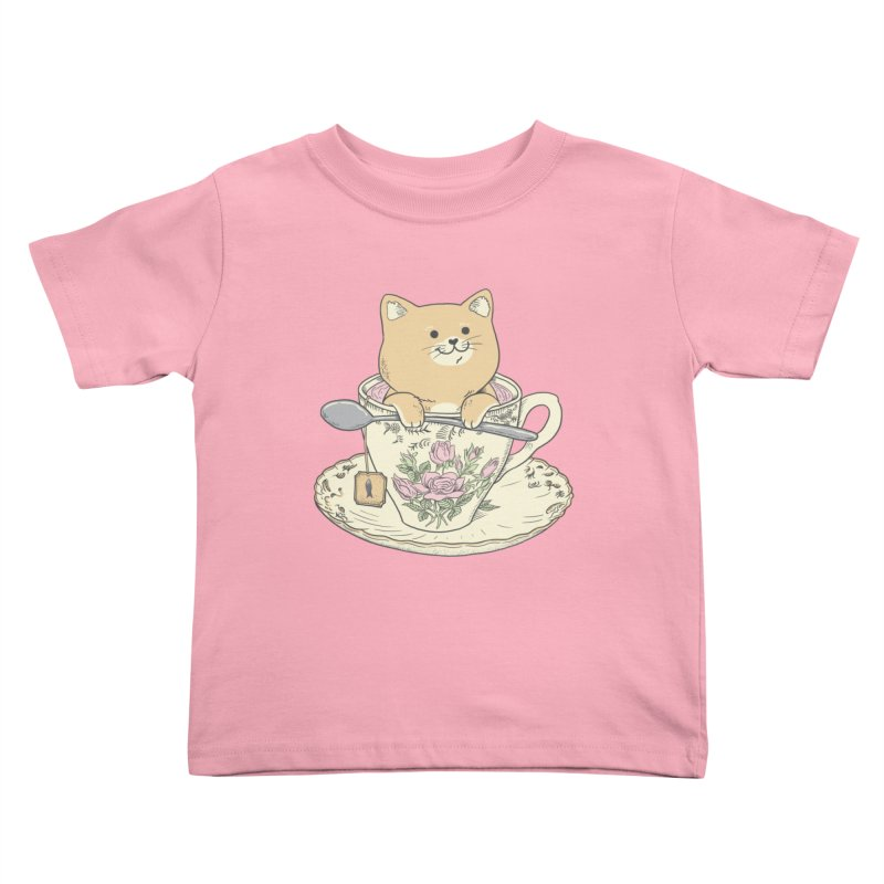 Tea Cat Time Kids Toddler T-Shirt by Pepe Rodríguez