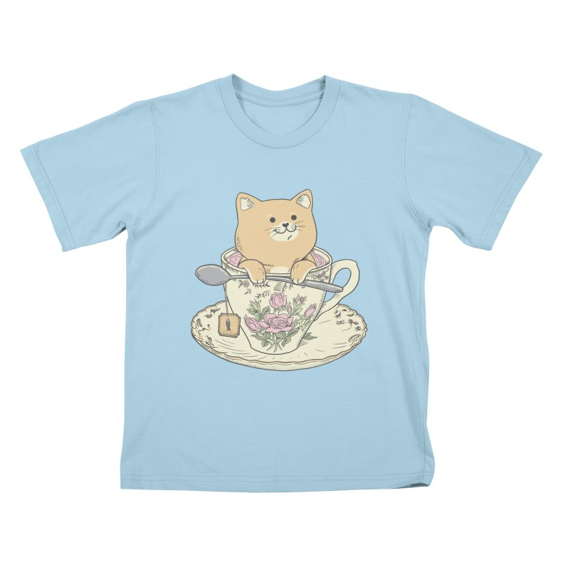 Tea Cat Time Kids T-Shirt by Pepe Rodríguez