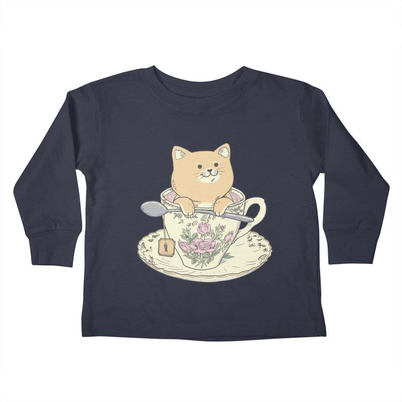 Tea Cat Time Kids Toddler Longsleeve T-Shirt by Pepe Rodríguez