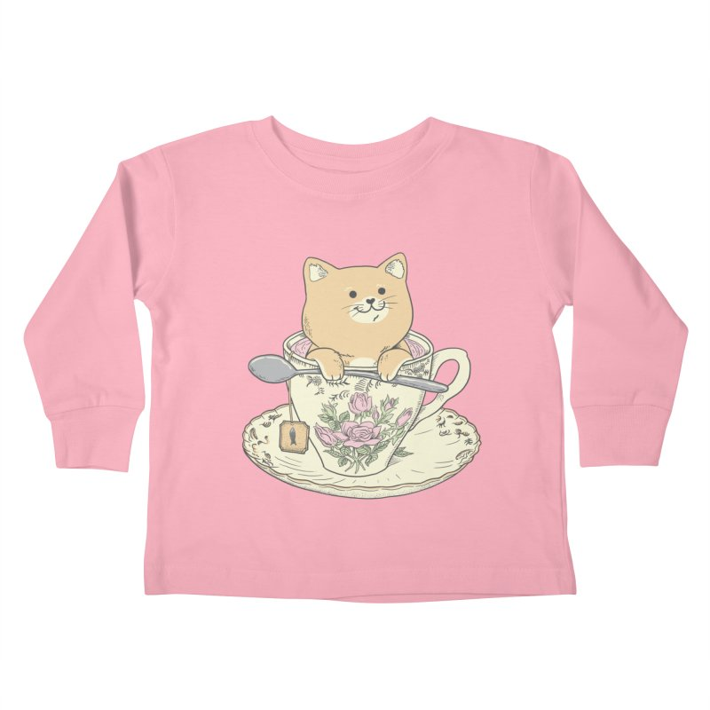Tea Cat Time Kids Toddler Longsleeve T-Shirt by Pepe Rodríguez