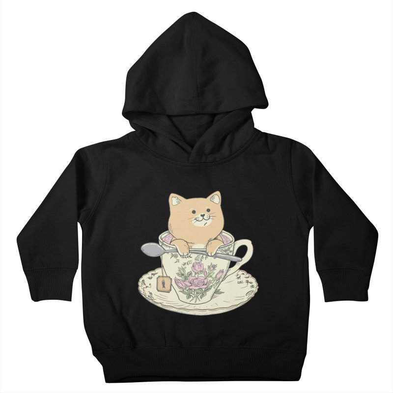 Tea Cat Time Kids Toddler Pullover Hoody by Pepe Rodríguez