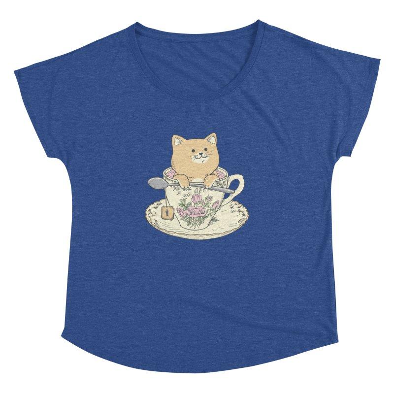 Tea Cat Time Women's Dolman Scoop Neck by Pepe Rodríguez