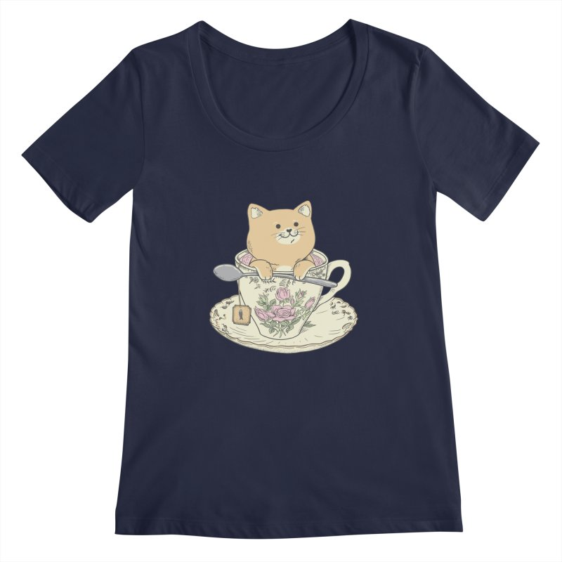 Tea Cat Time Women's Regular Scoop Neck by Pepe Rodríguez