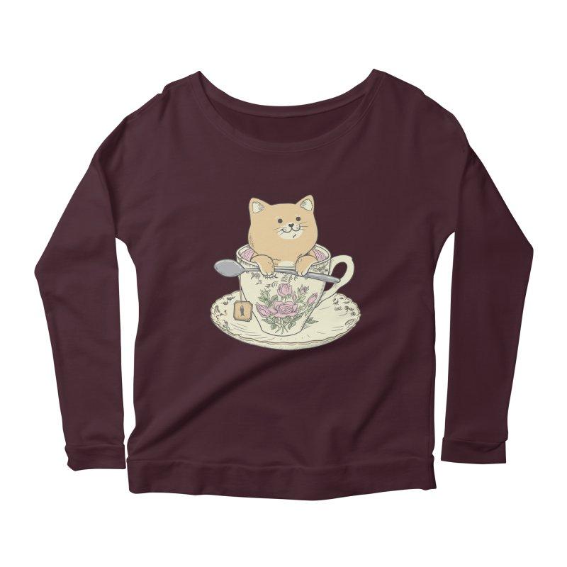 Tea Cat Time Women's Scoop Neck Longsleeve T-Shirt by Pepe Rodríguez