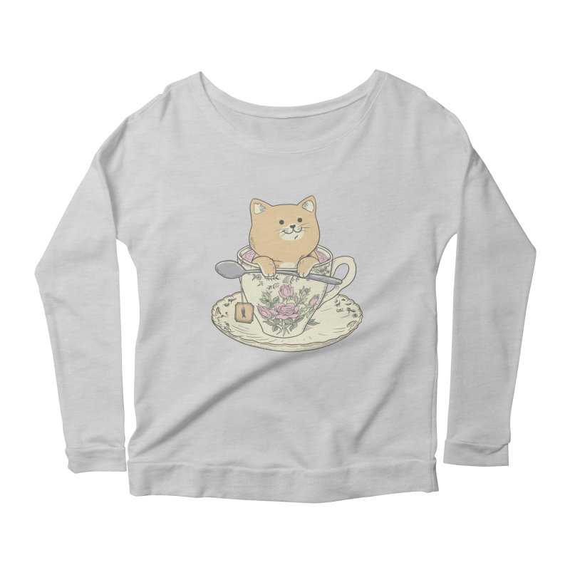 Tea Cat Time Women's Scoop Neck Longsleeve T-Shirt by Pepe Rodríguez