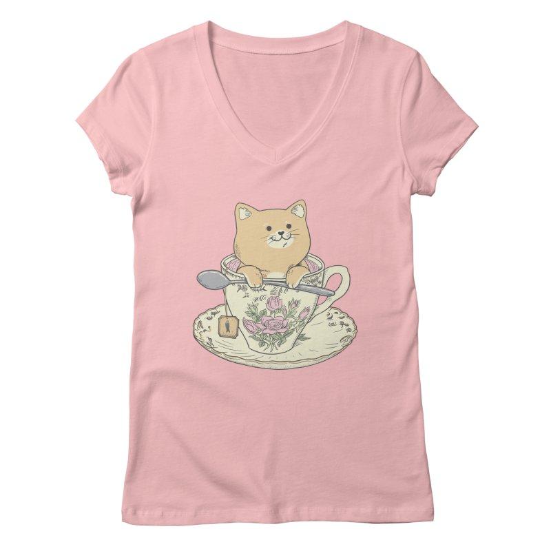 Tea Cat Time Women's Regular V-Neck by Pepe Rodríguez