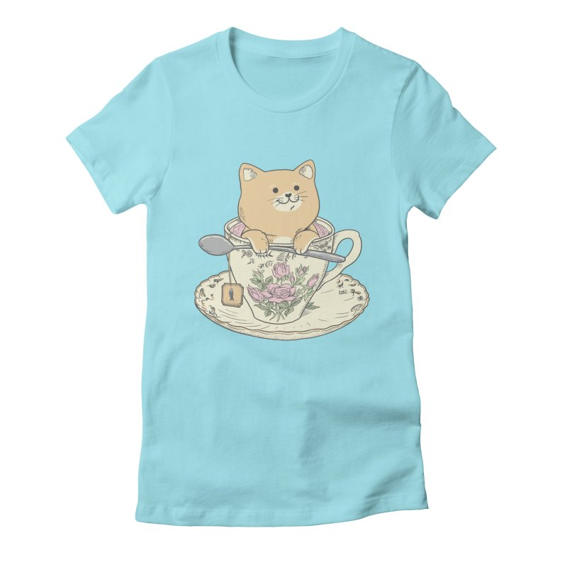 Tea Cat Time Women's Fitted T-Shirt by Pepe Rodríguez