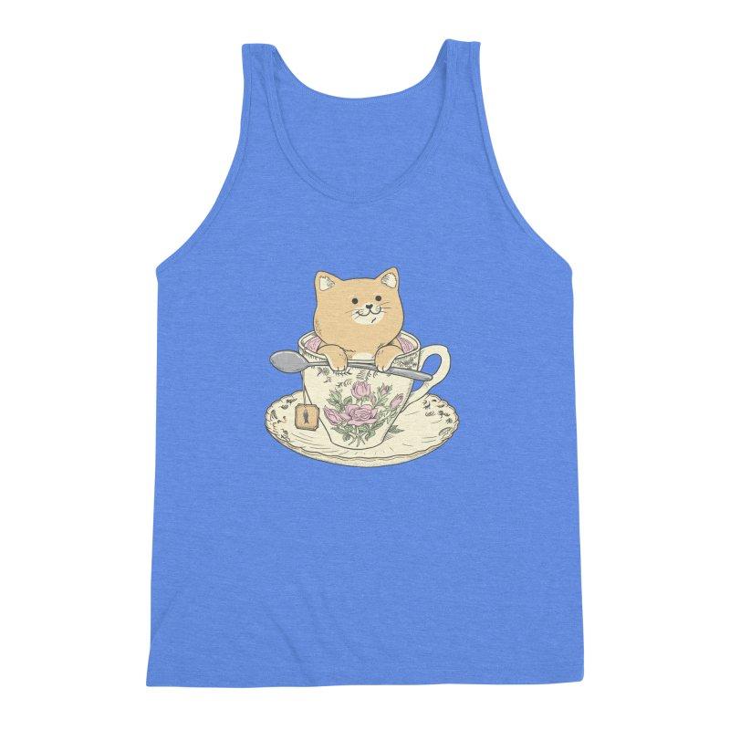 Tea Cat Time Men's Triblend Tank by Pepe Rodríguez