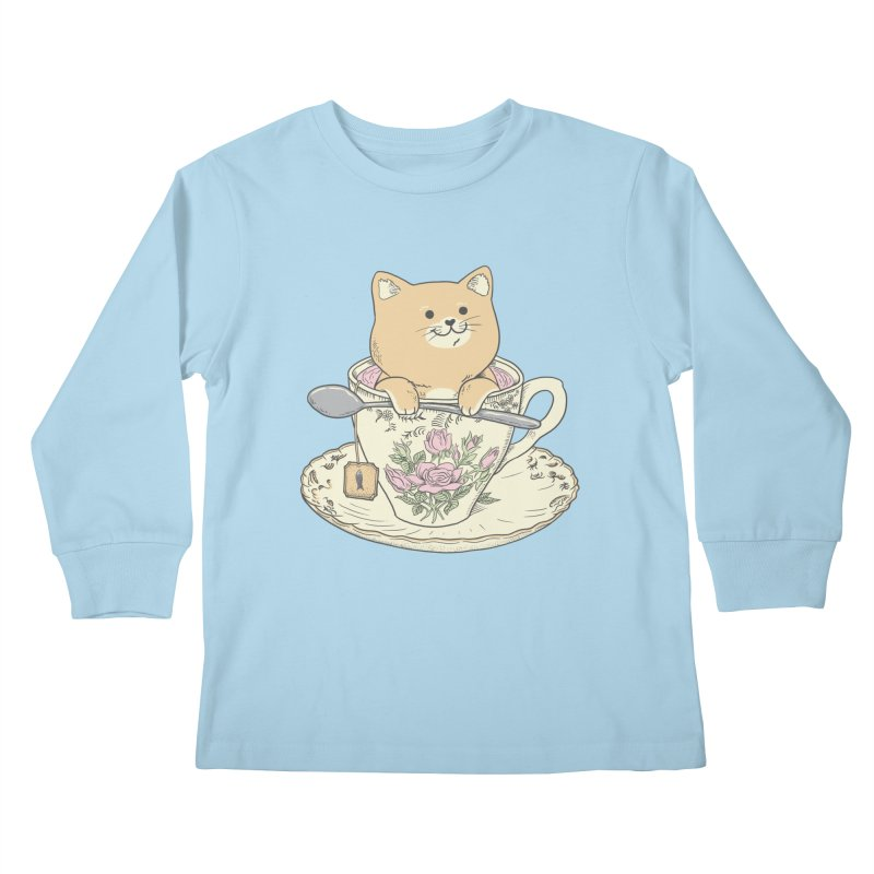 Tea Cat Time Kids Longsleeve T-Shirt by Pepe Rodríguez