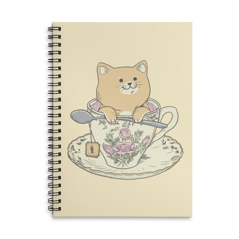 Tea Cat Time Accessories Lined Spiral Notebook by Pepe Rodríguez