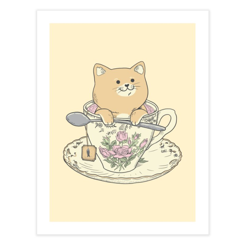 Tea Cat Time Home Fine Art Print by Pepe Rodríguez