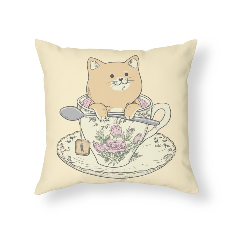 Tea Cat Time Home Throw Pillow by Pepe Rodríguez