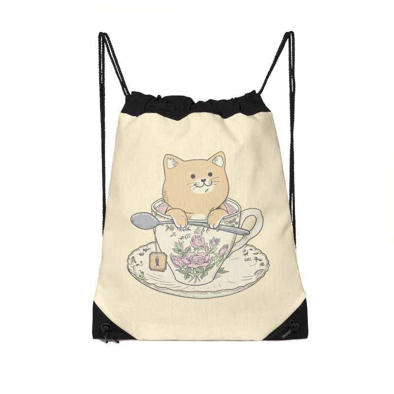 Tea Cat Time Accessories Drawstring Bag Bag by Pepe Rodríguez
