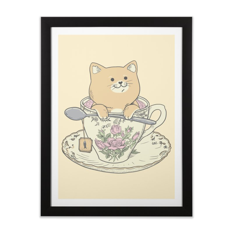 Tea Cat Time Home Framed Fine Art Print by Pepe Rodríguez