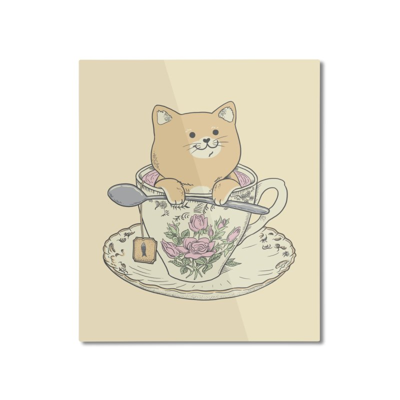 Tea Cat Time Home Mounted Aluminum Print by Pepe Rodríguez