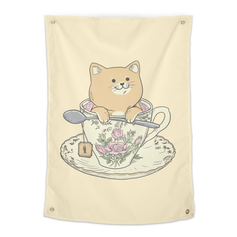 Tea Cat Time Home Tapestry by Pepe Rodríguez